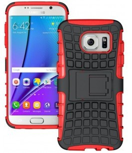 qMust Samsung Galaxy S7 Edge Rugged Hybrid Case - Dual Protection - Red