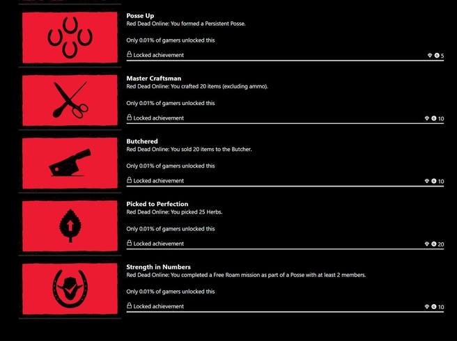 red dead online achievements