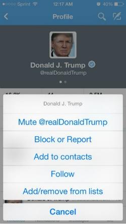 Mutefunctie Twitter klein