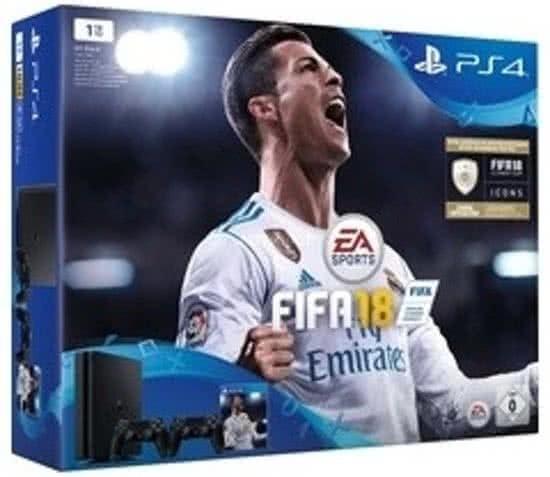 Sony PlayStation 4 Slim 1TB + FIFA 18 + 2 controllers Zwart