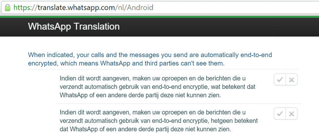 WhatsApp end-to-end Android