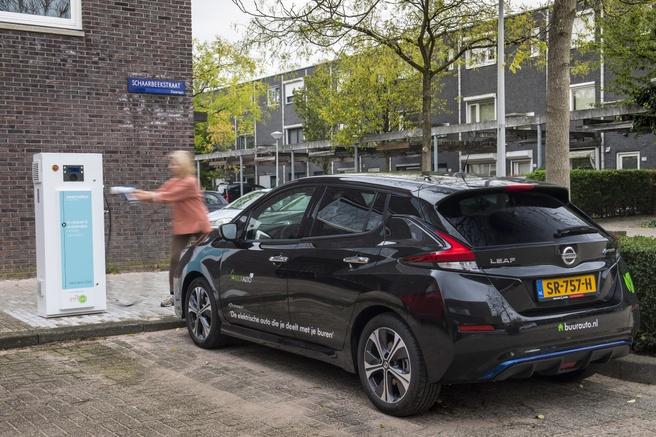 Een deelauto in de wijk als mini-energiecentrale (beeld: Nissan/WeDriveSolar)