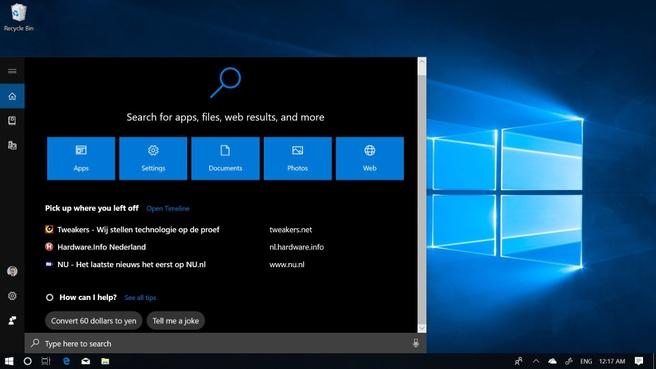 Windows 10 October 2018 Update Zoeken