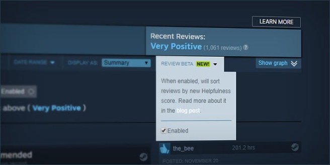 Steam reviews beta