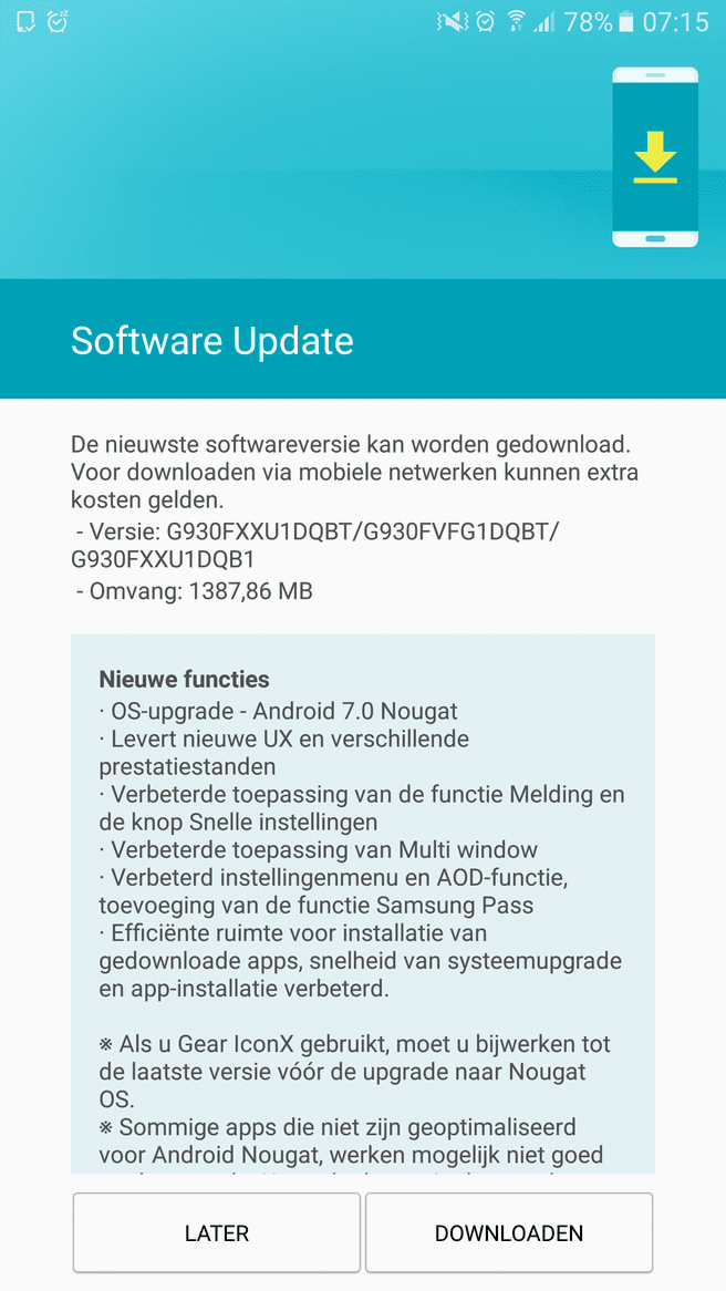 Nougat-update voor Samsung Galaxy S7