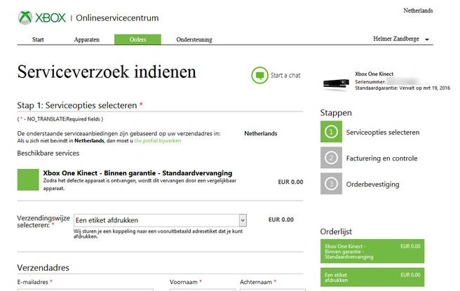 Microsoft Nederland Serviceverzoek