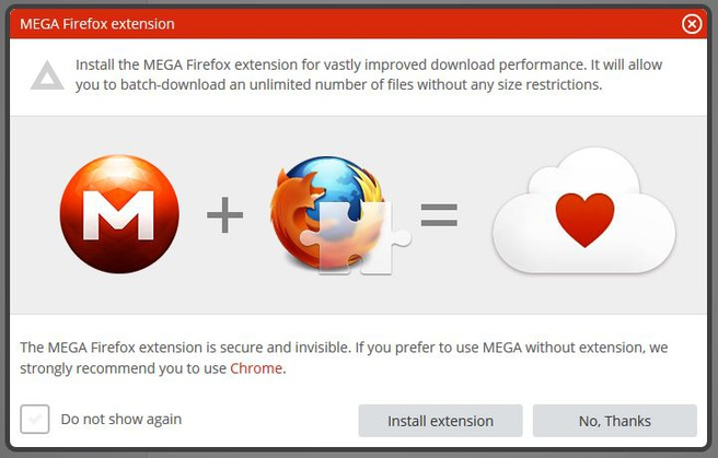 Mega pop-up voor Firefox-add-on