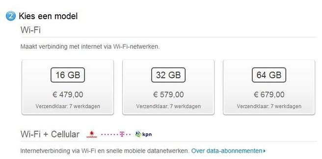 Apple iPad, wifi + cellular