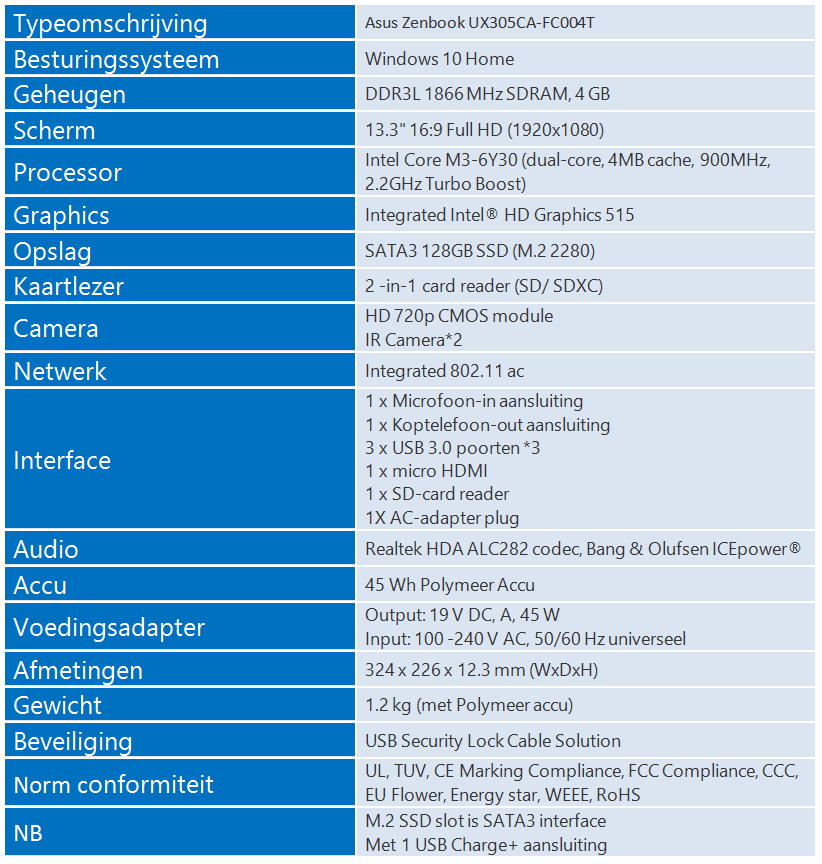 UX 305 specs