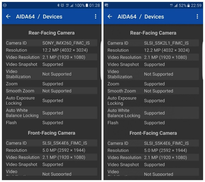 Samsung S7-sensoren