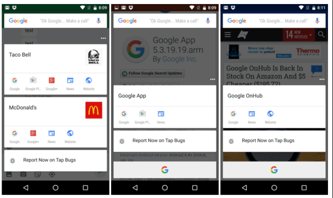 Google Now on Tap (screenshots: Android Police)