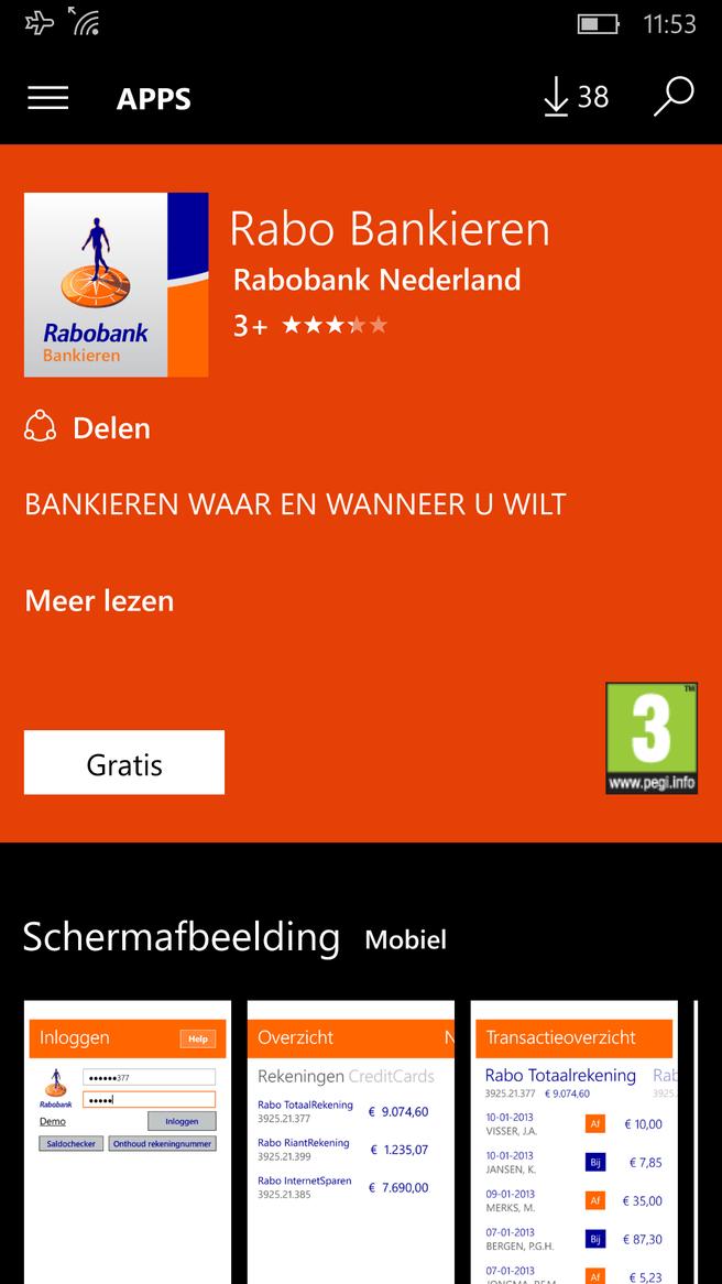 Rabobank Rabo Bankieren app Windows 10 Mobile
