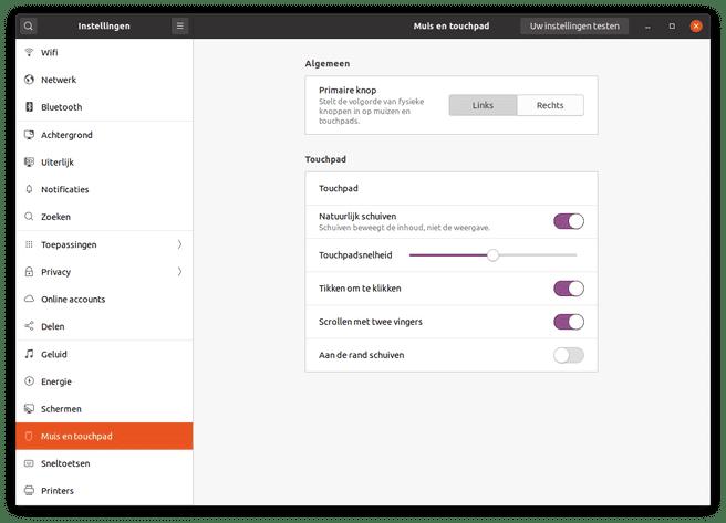 Ubuntu 20.04 Gnome Instellingenmenu