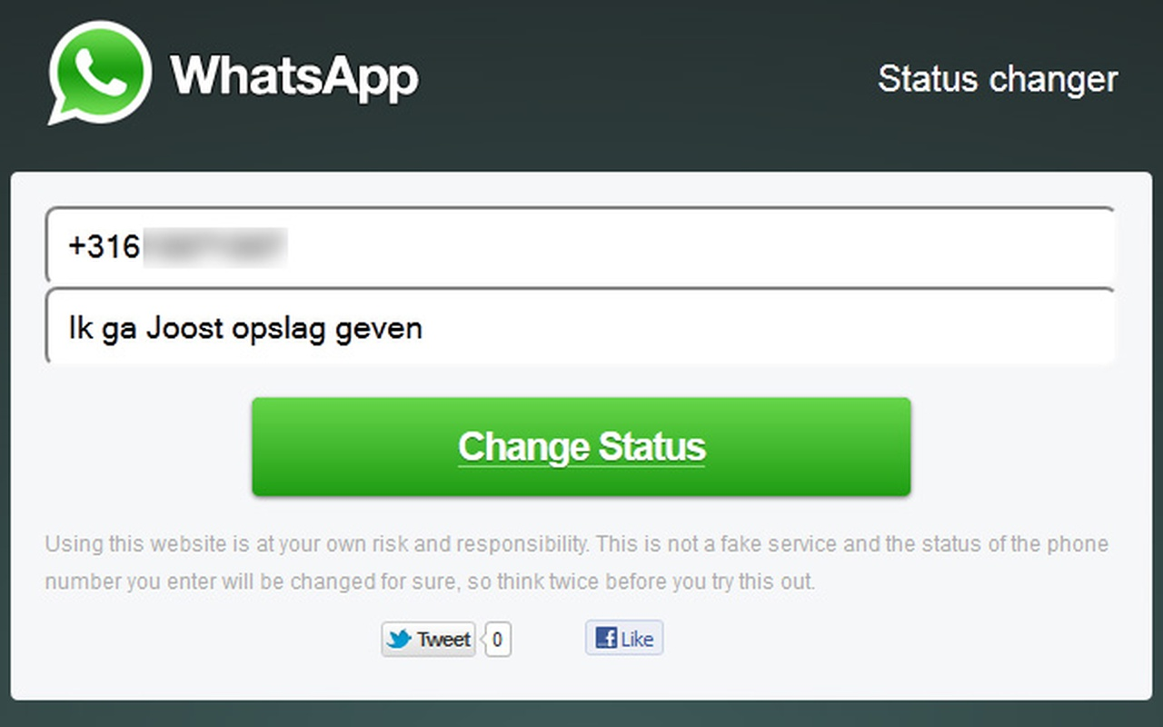 WhatsApp-bug: Je vult iemands mobiele nummer en de gewenste status in...