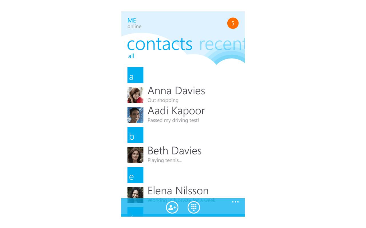 Skype for Windows Phone screenshot