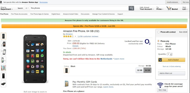 Amazon Fire Phone aanbieding