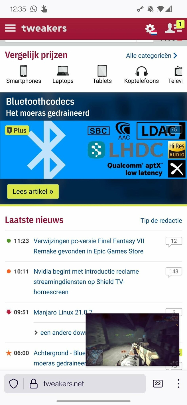 YouTube PiP op Android