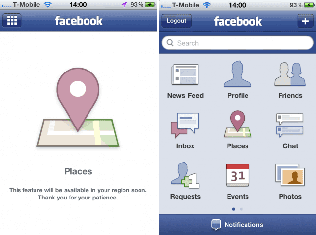 Facebook Places op iPhone