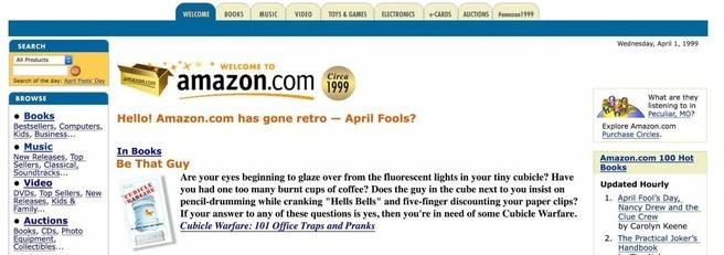 Amazon frontpage terug van 1999