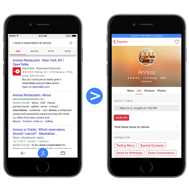 Opentable Google App Indexing