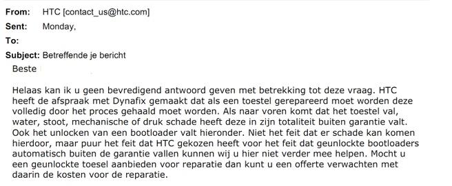 Mail HTC aan klant over garantie na unlocken bootloader
