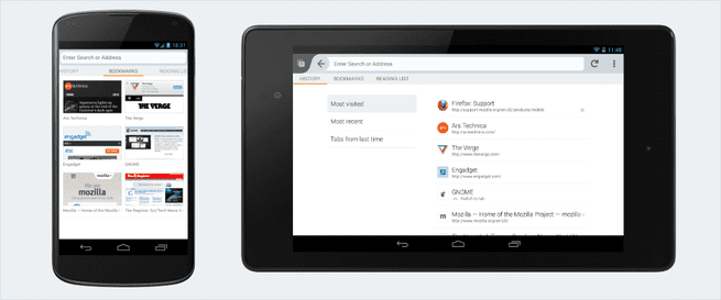 Firefox for Android -- nieuwe interface