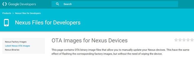 Ota-bestanden op ontwikkelaarssite Google