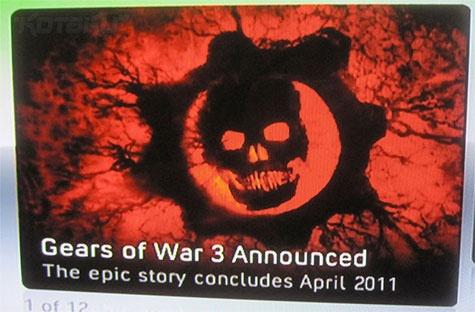 Gears of War 3 advertentie op Xbox Live