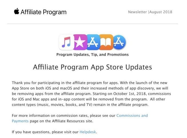 Apple stopt met affiliateprogramma voor apps