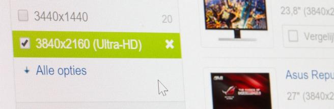 """Macrofoto van een 27""""-monitor met 4k-resolutie"""