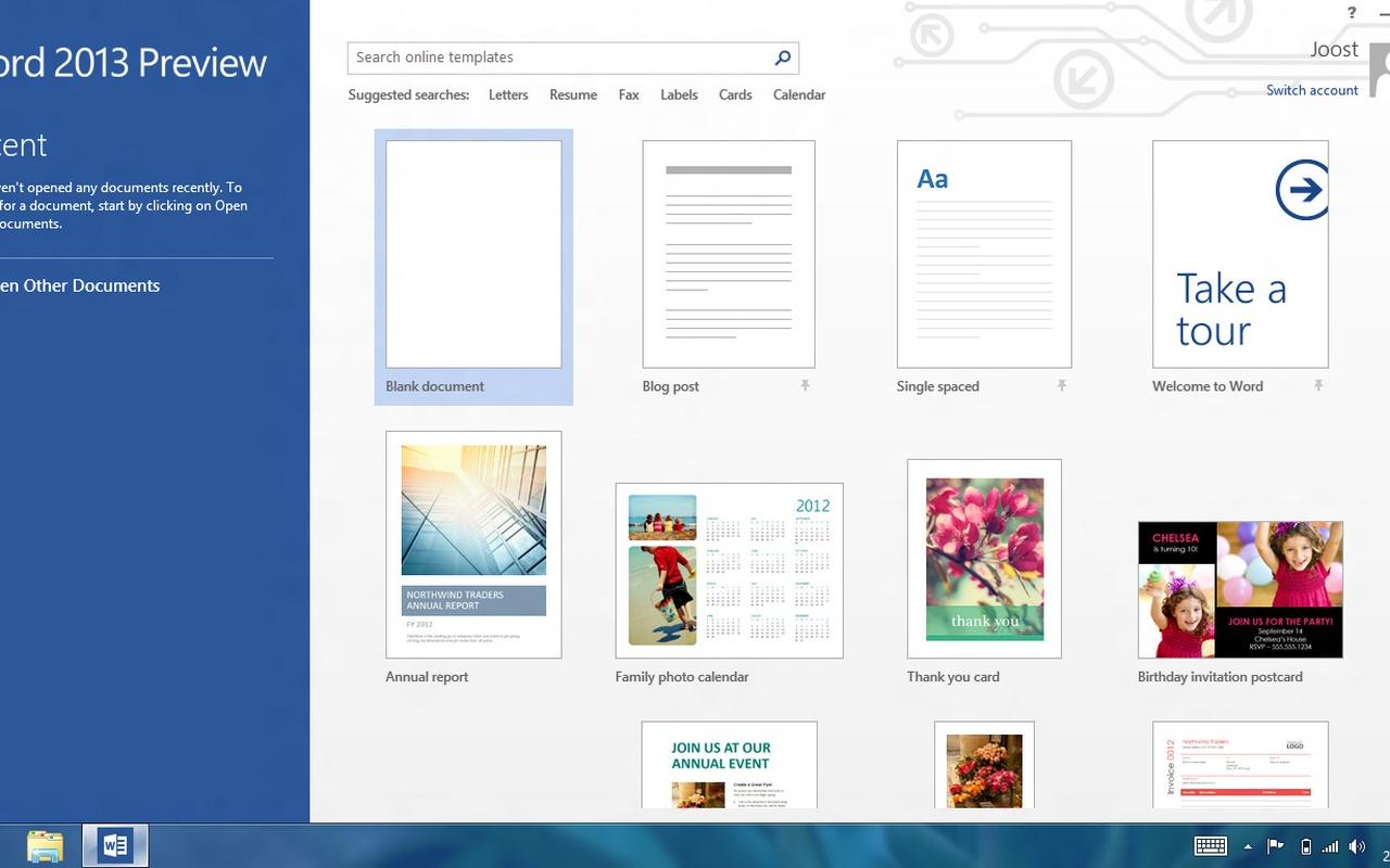 Microsoft Word 2013 - Startscherm