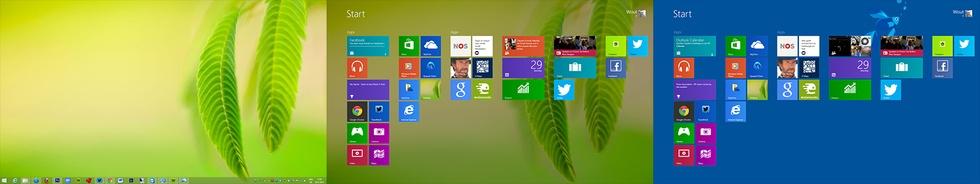 Windows 8.1: verschil tussen wel of geen achtergrond