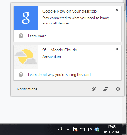 Google Now op desktop