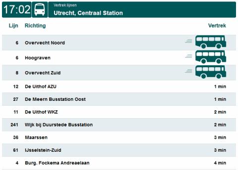 Connexxion provides current departure times of buses via ...