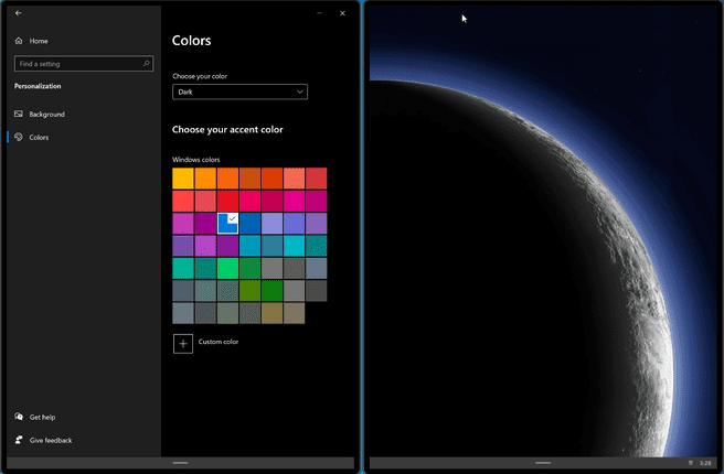 Windows 10X Quick Settings Dark Mode Restart