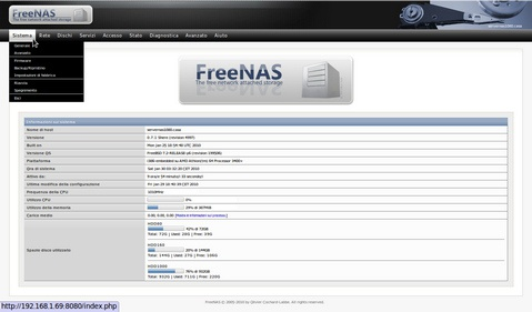 FreeNAS 9.10 - Volumes screenshot (620 pix)