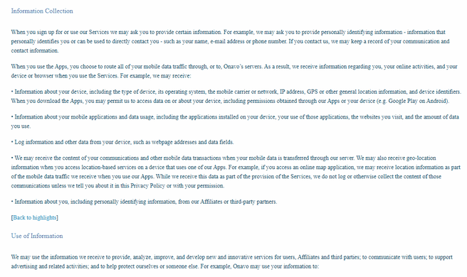 Onavo privacy policy