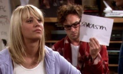 Sarcasme-bordje uit The Big Bang Theory