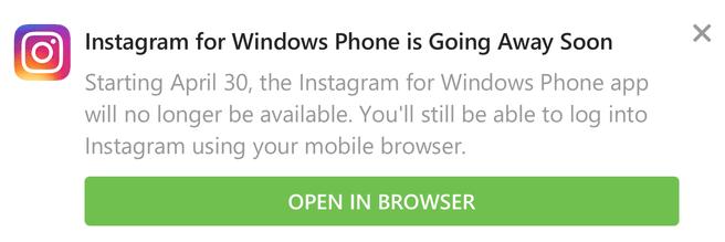 Instagram Windows Phone stopt