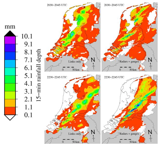 Regenkaarten obv mobiel netwerk (links) en traditionele methode (rechts): Bron: KNMI