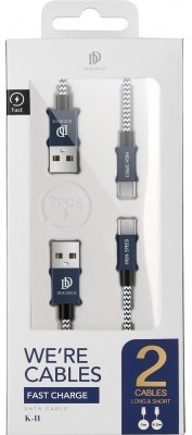 Dux Ducis 2Pack Gevlochten MicroUSB Kabels 1m + 0.2m - Blauw