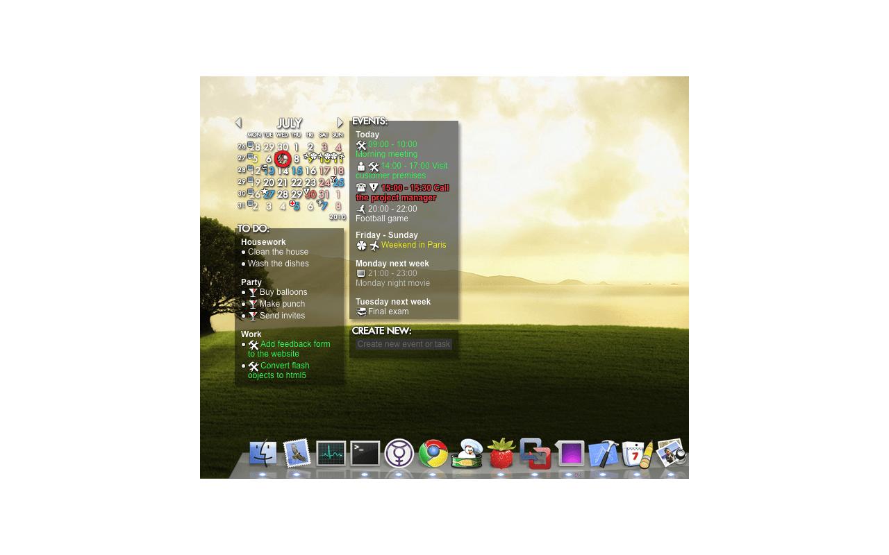 Rainlendar screenshot