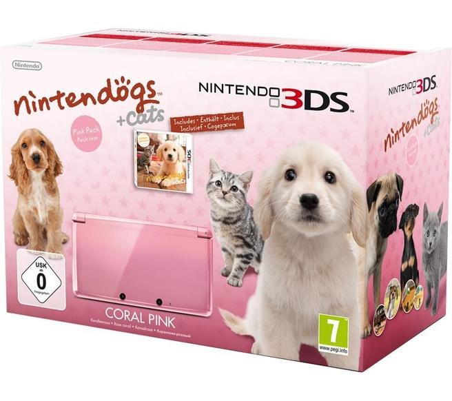 Nintendo 3DS Rose + Nintendogs & Cats: Golden Retriever