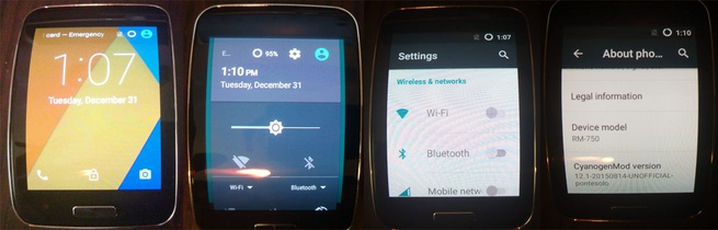 CM 12.1 (Android 5.1) op Samsung Gear S