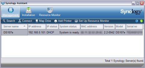 Synology Assistant 2.2-1062 screenshot (481 pix)