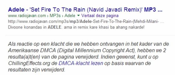 Google link verwijderd