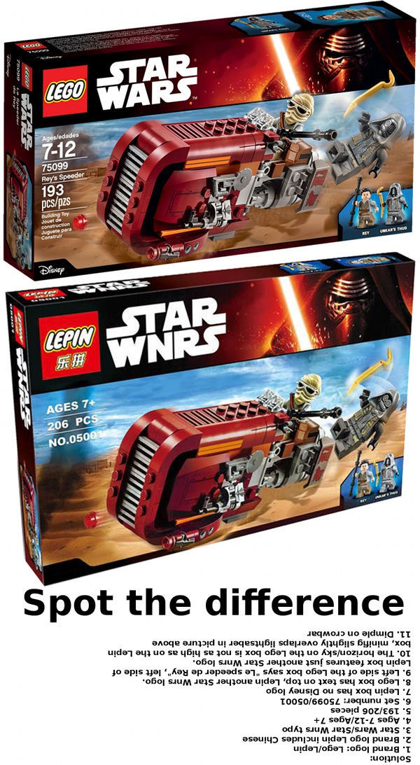 Lego Lepin fake spot the difference game