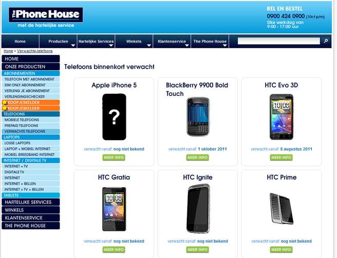 Coming Soon-pagina The Phone House