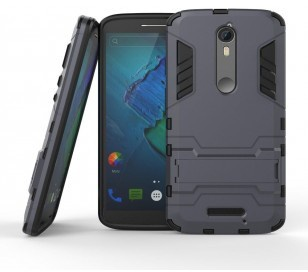 qMust Motorola Moto X Force Hybrid case - Dual Protection - Grey