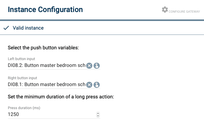 Double Push Button instantie configuratie